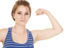 Woman blue striped tank fitness flex close Stock Photos