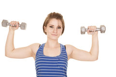 Woman blue striped tank fitness flex looking Stock Images
