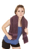 Woman blue striped tank fitness towel look side Royalty Free Stock Photography