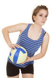 Woman blue striped tank fitness volleyball lean Royalty Free Stock Images