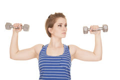 Woman blue striped tank fitness weights flex Stock Photos