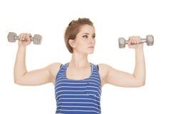 Woman blue striped tank fitness weights flex Stock Photos