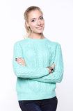 Woman in blue sweater Royalty Free Stock Photography