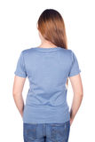 Woman in blue t-shirt isolated on white background back side Stock Photography
