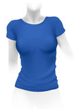 Woman blue t-shirt template Stock Images
