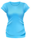 Woman blue t-shirt template Stock Photos