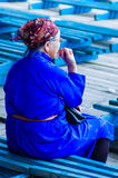 Woman in blue traditional deel, Nadaam Opening Cer Stock Image