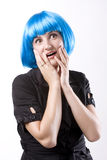 Woman in blue wig Royalty Free Stock Photos