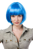 Woman in blue wig Stock Photography