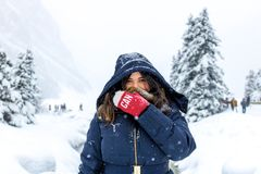 Woman in Blue Zip-up Hooded Jacket Standing on Snow Royalty Free Stock Photography