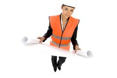 Woman with Blueprints Royalty Free Stock Photo