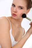 Woman with blusher Stock Photo