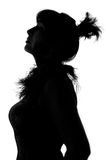 Woman in boa silhouette Royalty Free Stock Photo