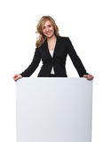 Woman with board. Portrait of blonde smiling woman and white board Stock Photo