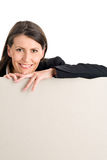 Woman with board banner Royalty Free Stock Photography