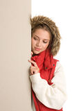 Woman with board banner Stock Photography