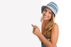 Woman with board banner Royalty Free Stock Images