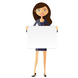 Woman with board. Confident young businesswoman holding board cutout. Cute girl holding a large horizontal banner. Vect. Happy cute girl with board. Confident vector illustration