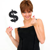 Woman with board dollar mark Stock Photo