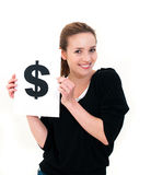 Woman with board dollar mark Royalty Free Stock Images