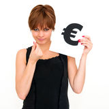 Woman with board euro mark Stock Photography