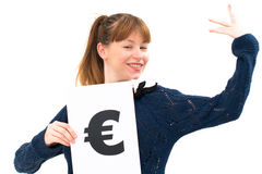 Woman with board euro mark Royalty Free Stock Image