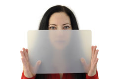 Woman board. Lady in red holding a transparent board half hiding her face as if providing copyspace Stock Images