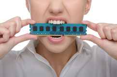 Woman with board memory in the teeth Stock Images