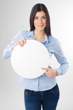 Woman with board. Woman pointing to a blank board Royalty Free Stock Photo