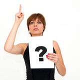 Woman with board question mark sign Stock Photos