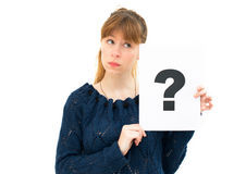Woman with board question mark sign Stock Image