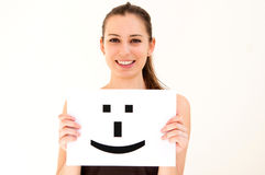 Woman with board Smile face sign Royalty Free Stock Images