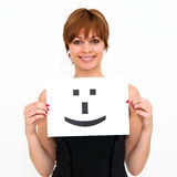 Woman with board Smile face sign Royalty Free Stock Image