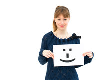 Woman with board Smile face sign Stock Photos