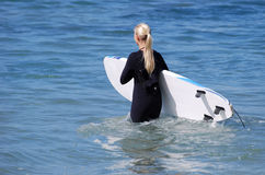 Woman board surfer heading out to the surf Laguna Beach, California. Royalty Free Stock Photos