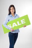 Woman with board. Young woman portrait with board Stock Photo