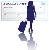 Woman and boarding pass. Traveling woman with boarding pass on background Royalty Free Stock Photo