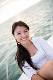 Woman on a boat Royalty Free Stock Image