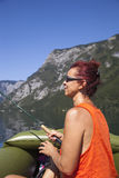 Woman in boat, fishing on the lake Royalty Free Stock Photo
