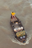 Woman on boat floating down Mekong river , Vietnam Stock Images