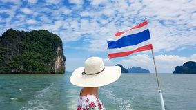 Woman on the boat trip , Thailand royalty free stock photo
