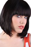 Woman with a bobbed hairstyle stock photography