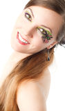 woman with body art butterfly on face Royalty Free Stock Images