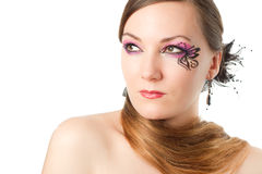 Woman with body art butterfly  and long hair Stock Image