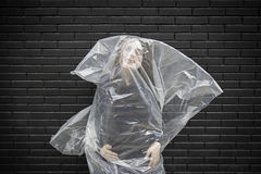 Woman in a body bag Royalty Free Stock Photography
