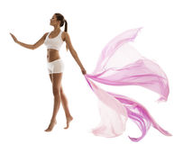Woman Body Beauty in Sport White underwear with Waving Fabric. Pink Cloth in Hand, Slim Girl Side View Isolated over White Royalty Free Stock Photos