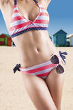 Woman body with bikini and sunglasses Stock Photos