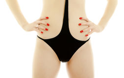 Woman body in black swimsuit. Royalty Free Stock Photography