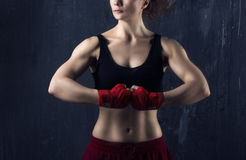 Woman body-builder Stock Photography