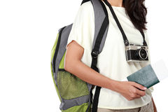 Woman body with camera and passport ready to go on vacation Stock Image